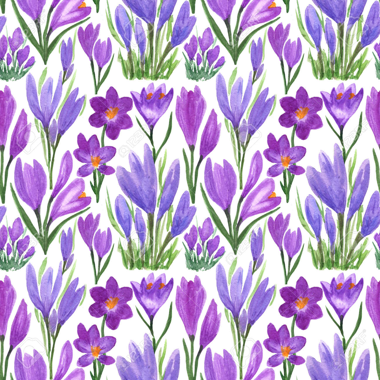 Waterclor colorful seamless pattern of spring flowers. Hand Illustration of primrose for creating fabrics, textile, decoupage, wallpapers, print, gift wrapping paper, invitations, textile. - 167408758