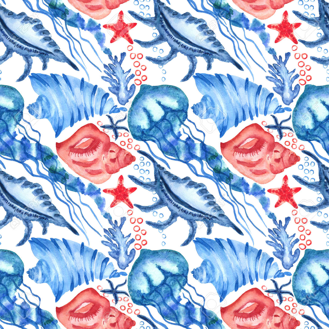 Watercolor seashells and starfish seamless pattern. Illustration of jellyfishes and sea stars for for creating fabrics, textile, decoupage, wallpapers, print, gift wrapping paper, invitations. - 167408761