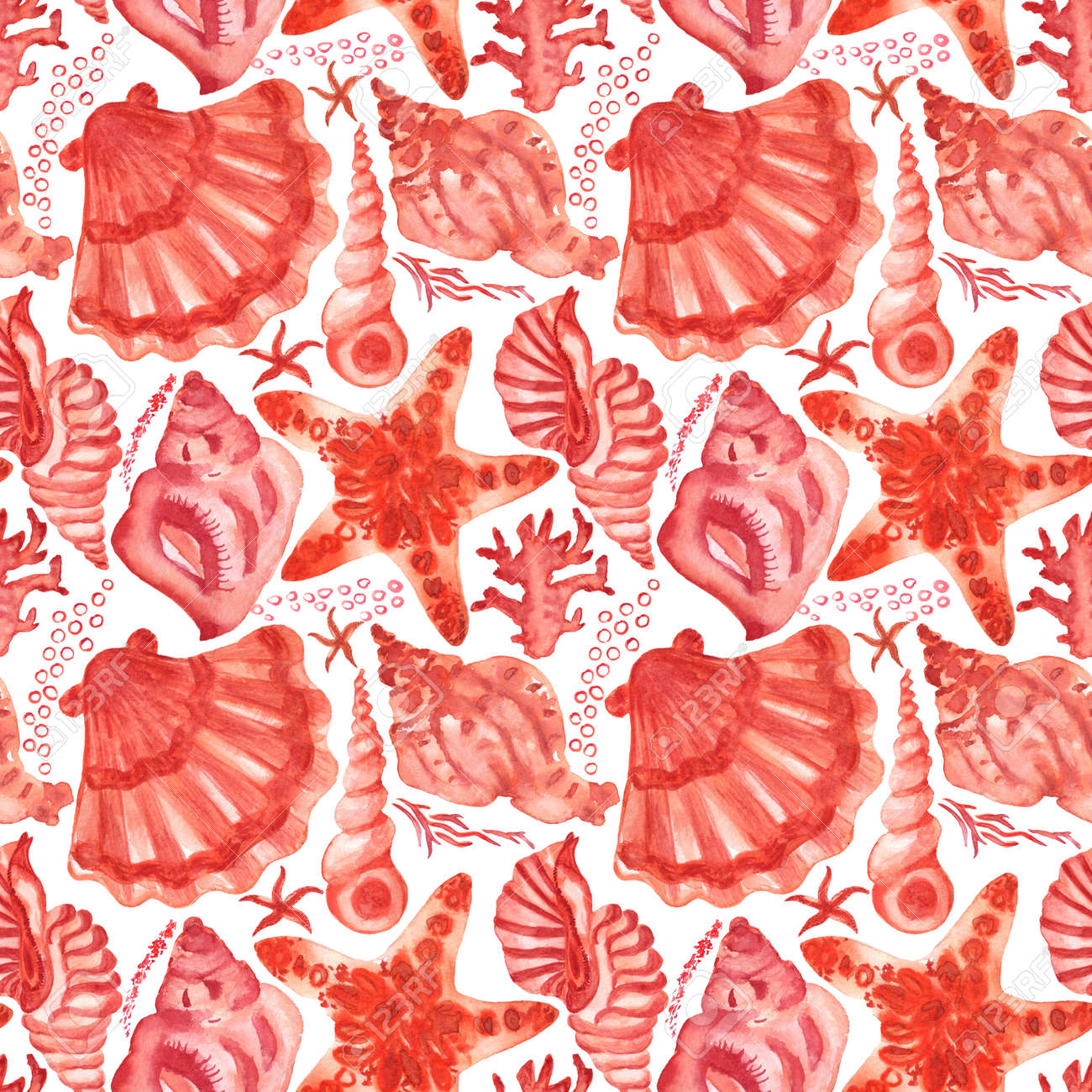 Watercolored seashells and starfishes seamless pattern. Colored illustration of underwater shells and sea stars for for creating fabrics, textile, decoupage, wallpapers, print, gift wrapping paper. - 167408763