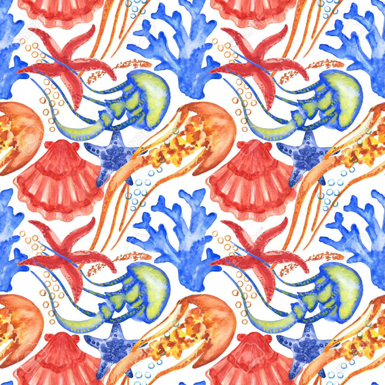 Watercolor seashells and starfish seamless pattern. Illustration of jellyfishes and sea stars for creating fabrics, textile, decoupage, wallpapers, print. Isolated on white background. - 167408766
