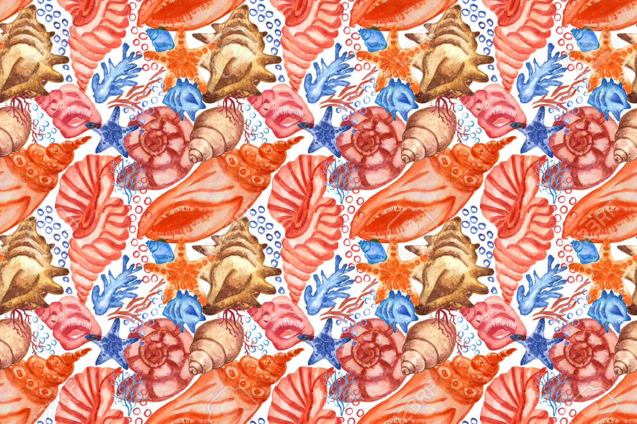 Marine background with seashells and corals. Watercolor seamless pattern. Perfect for creating fabrics, textile, decoupage, wallpapers. Isolated on white background. - 167408765