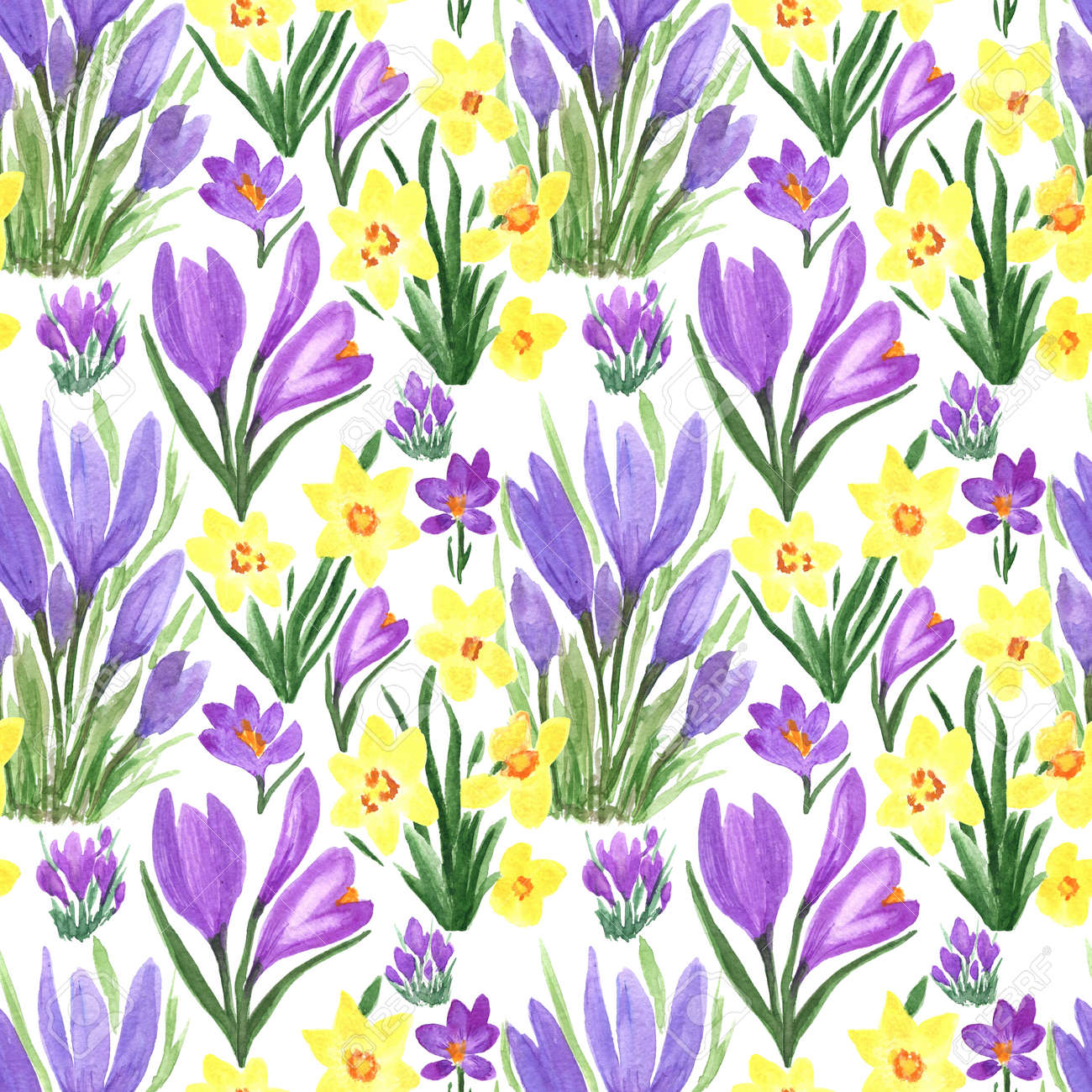 Waterclor colorful seamless pattern of spring flowers. Hand Illustration of primrose for creating fabrics, textile, decoupage, wallpapers, print, gift wrapping paper, invitations, textile. - 167408770