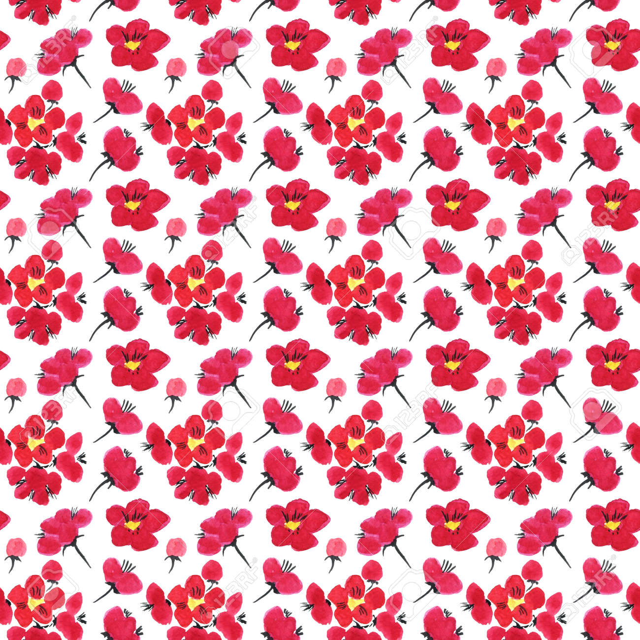 Seamless pattern of a sakura. Pink and red stylized flowers of plum mei and wild apricots. Watercolor and ink illustration in style sumi-e, u-sin. Oriental traditional painting. - 167692107