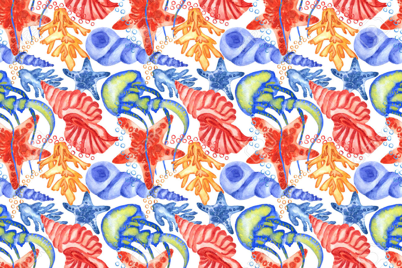 Marine background with seashells, starfishes and corals. Watercolor seamless pattern. Perfect for creating fabrics, textile, decoupage, wallpapers, print, gift wrapping paper, invitations, textile. - 167692108