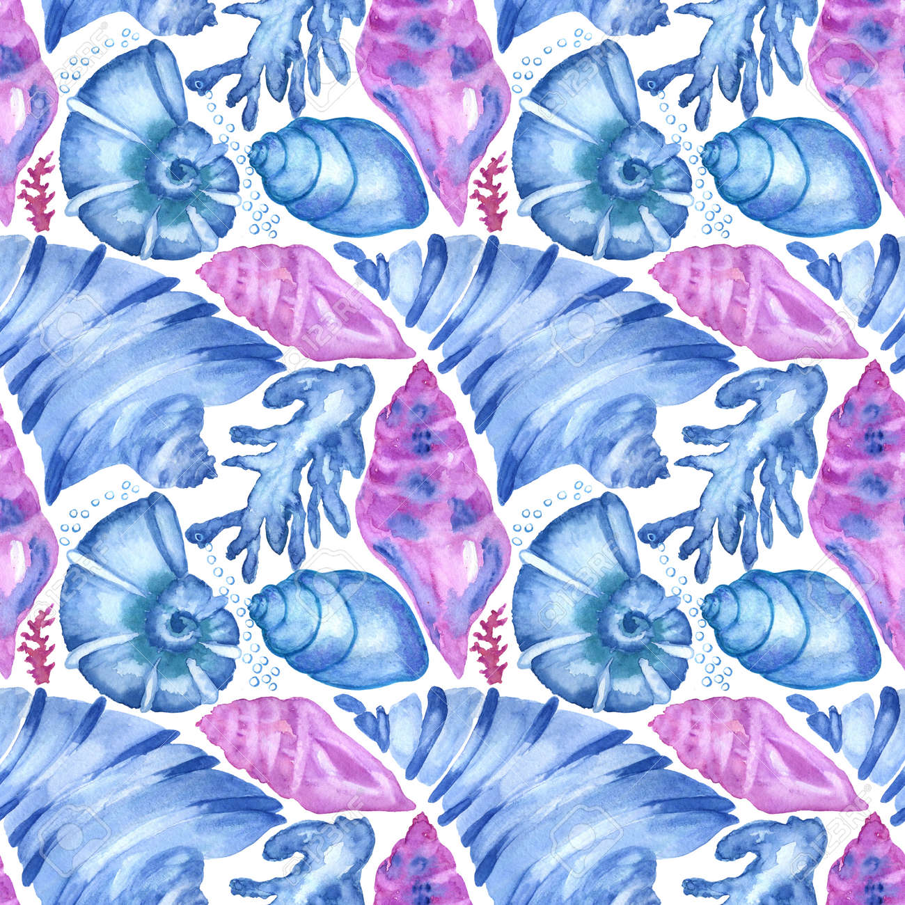 Marine background with seashells, starfishes and corals. Watercolor seamless pattern. Perfect for creating fabrics, textile, decoupage, wallpapers, print, gift wrapping paper, invitations, textile. - 167692113