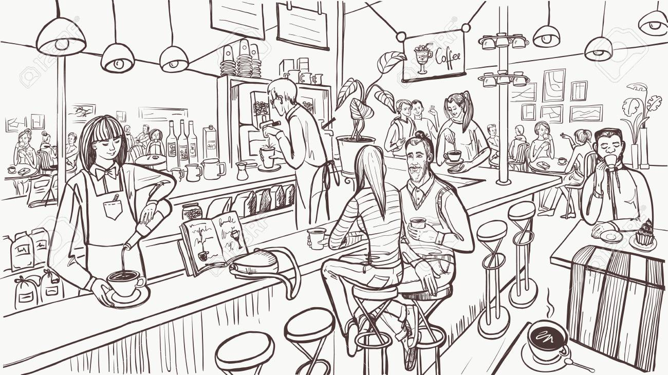 Sketch of cafe interior. Young people are sitting and drinking coffee by bar counter. Modern cafe concept. Vector illustration. - 123406941