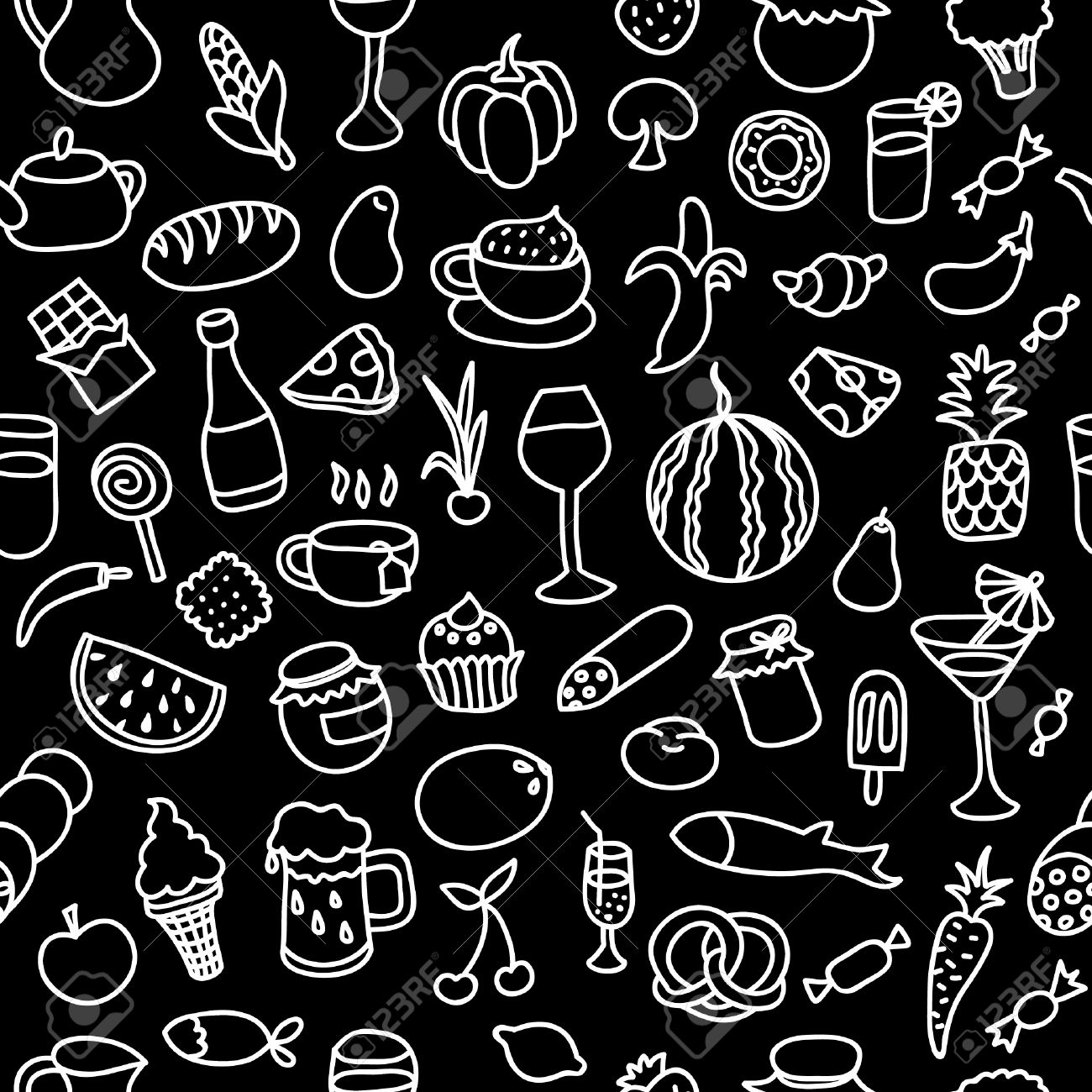 seamless pattern with food elements endless texture for wallpaperseamless pattern with food elements endless texture for wallpaper, fill, web page background