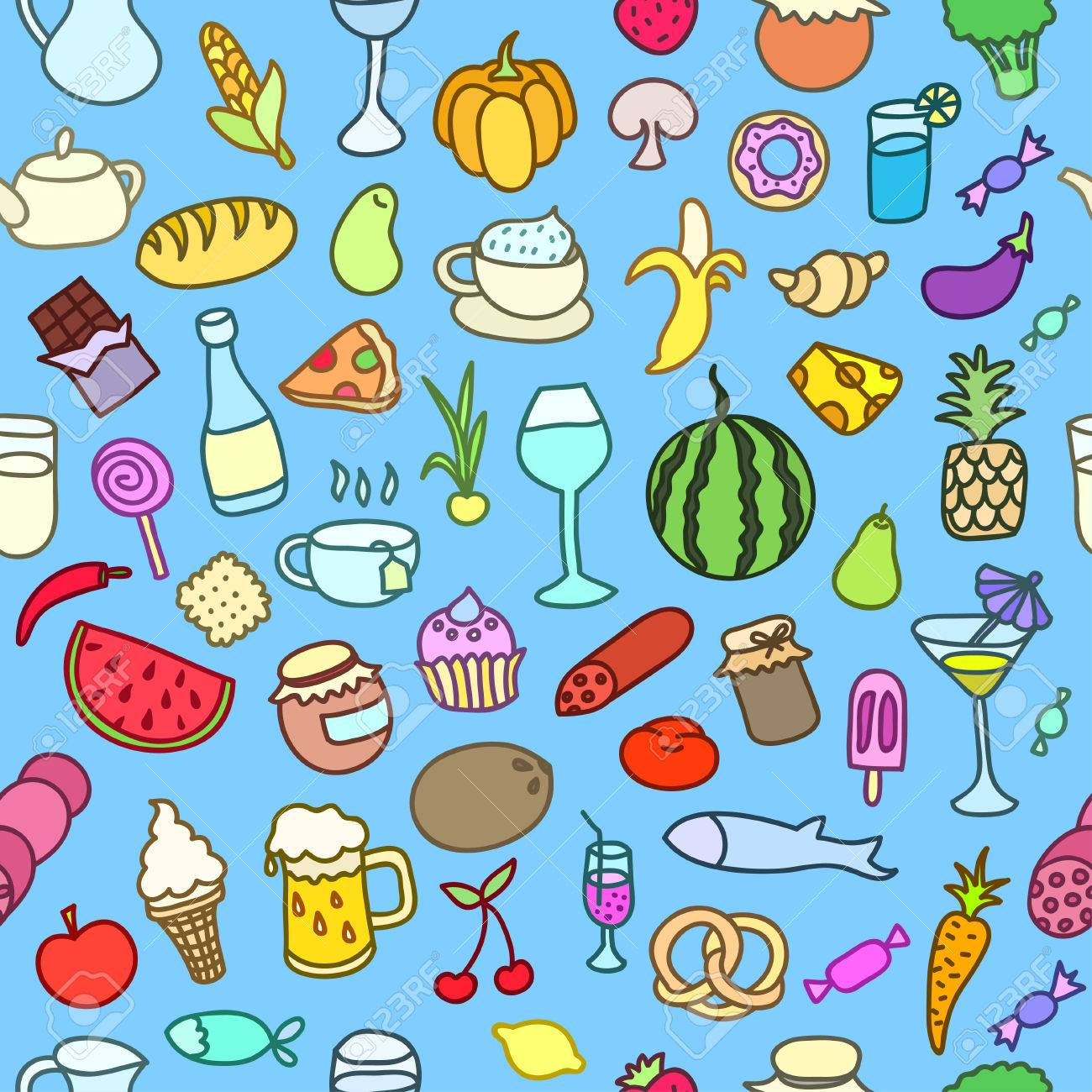 Seamless Pattern With Food. Hand Drawn Vector. Good For Backgrounds ...