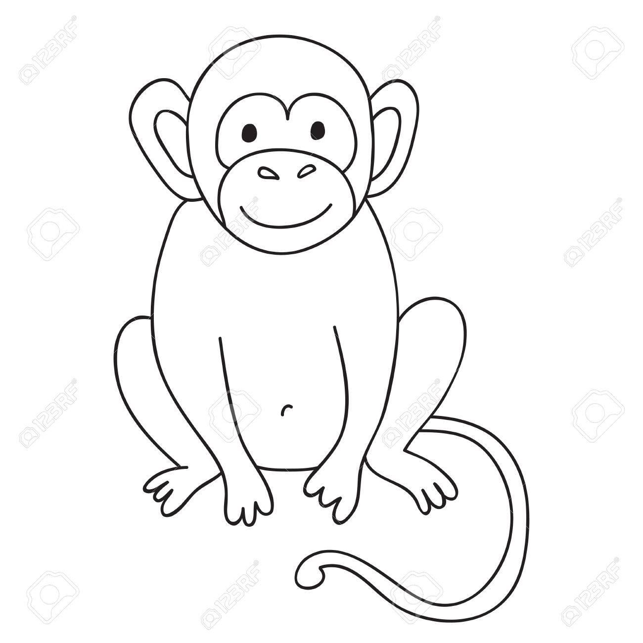 Vector Divertido Mono Ilustración Para Colorear Página Del Mono