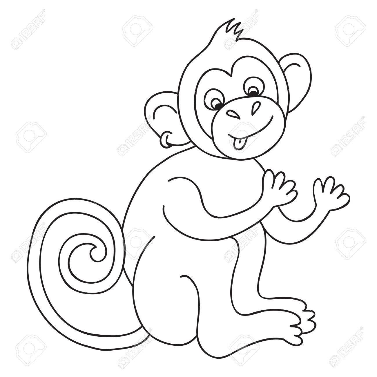 Vector Divertido Mono, Ilustración Para Colorear Página Del Mono ...