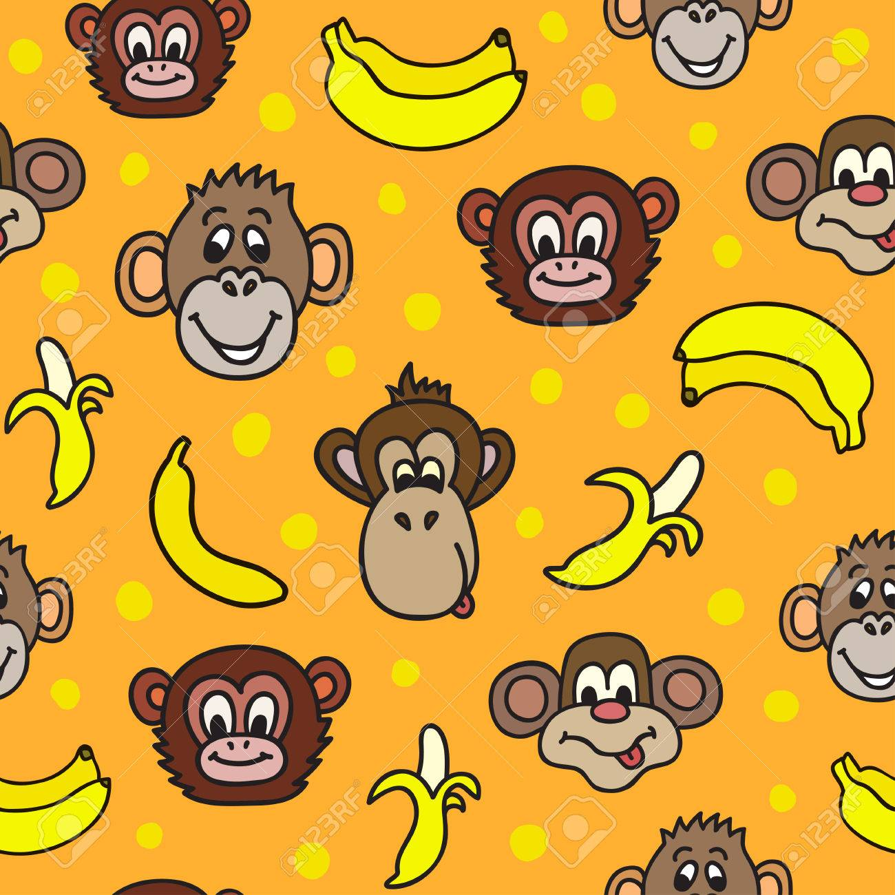 Seamless Pattern With Cute Faces Of Monkeys And Bananas Kids