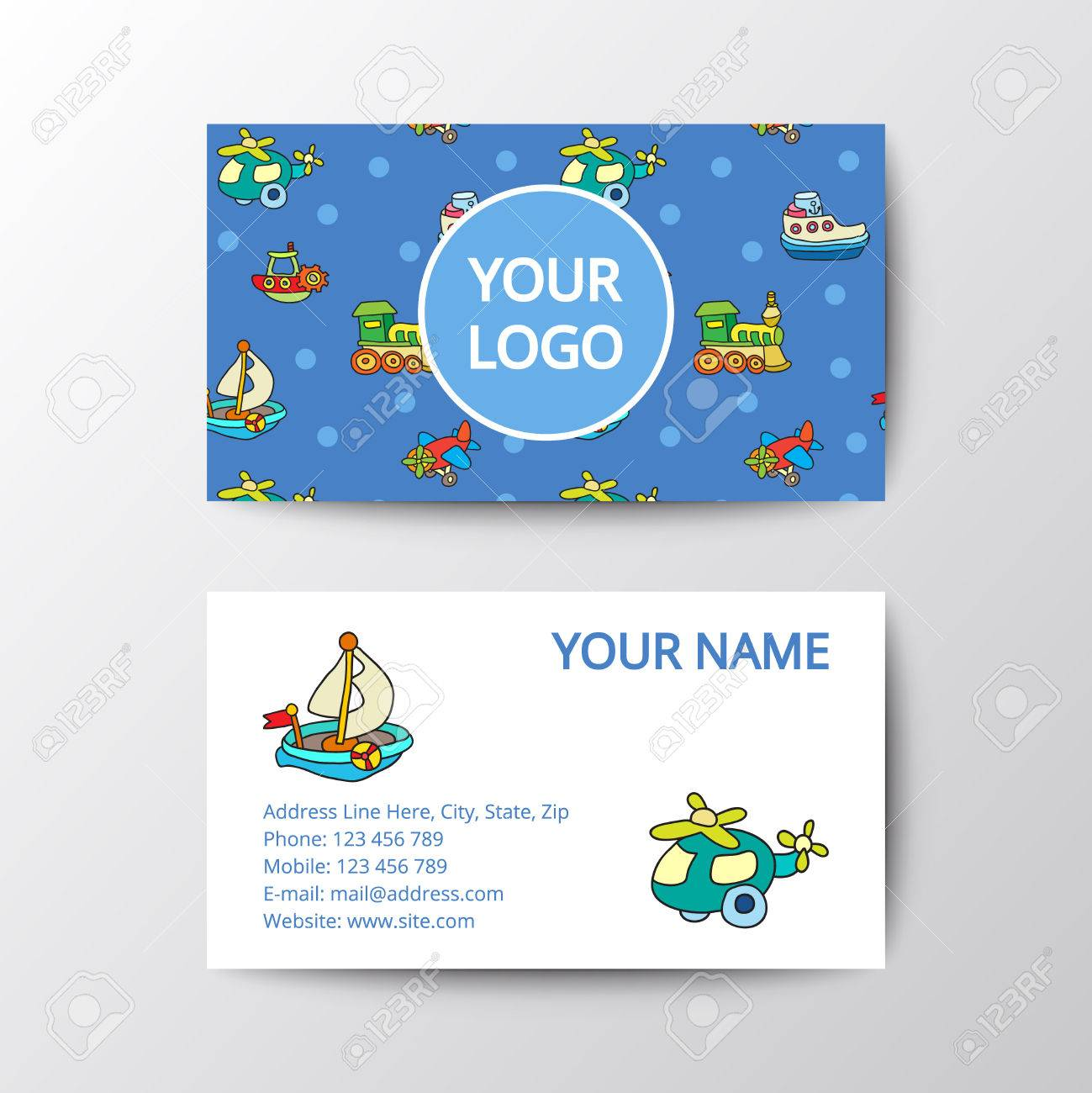 Business Card With Kids Toys. Template Corporate Style For Toy ...