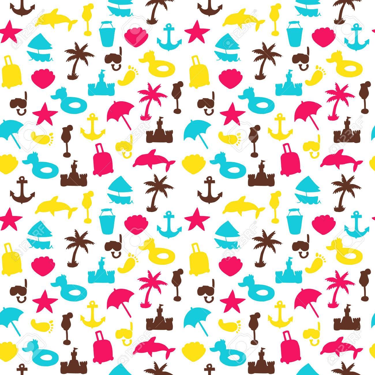 Vector Beach Pattern Summer Endless Texture Wallpaper Fill Web Page