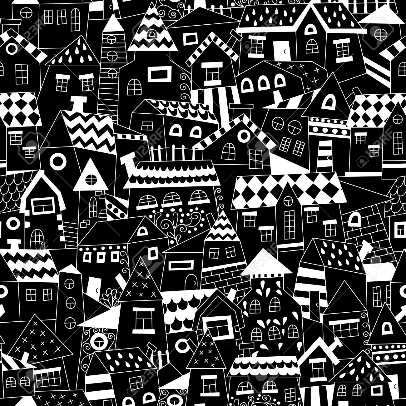 Doodle Hand Drawn Town Seamless Pattern Black And White Abstract Wallpaper Vector Illustration For