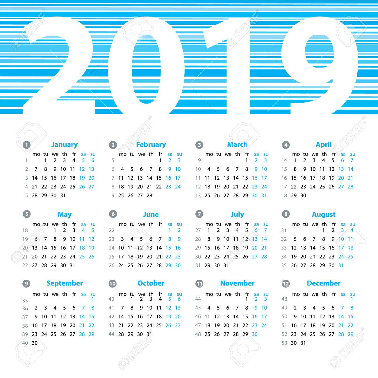 Calendar 2019 Year Vector Design Template With Week Numbers And