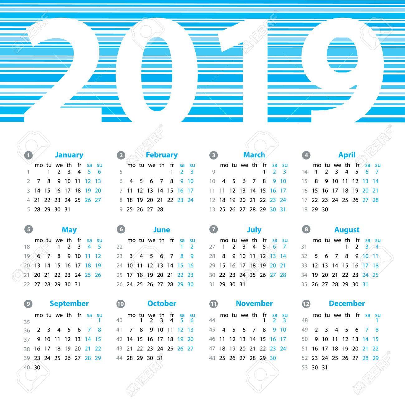 Calendrier 2019 Années Modèle De Dessin Vectoriel Avec Des Numéros De Semaine Et Mois Belle Conception De Vecteur