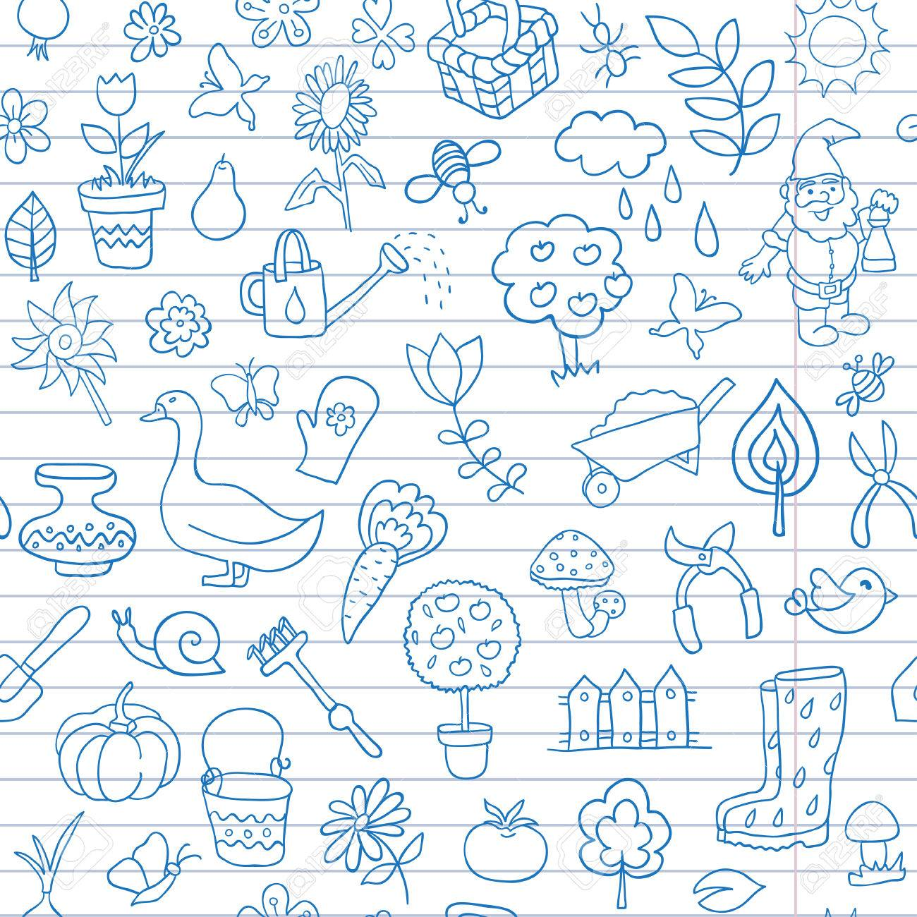 Seamless Pattern Of Gardening Objects Are Drawn On A Notebook