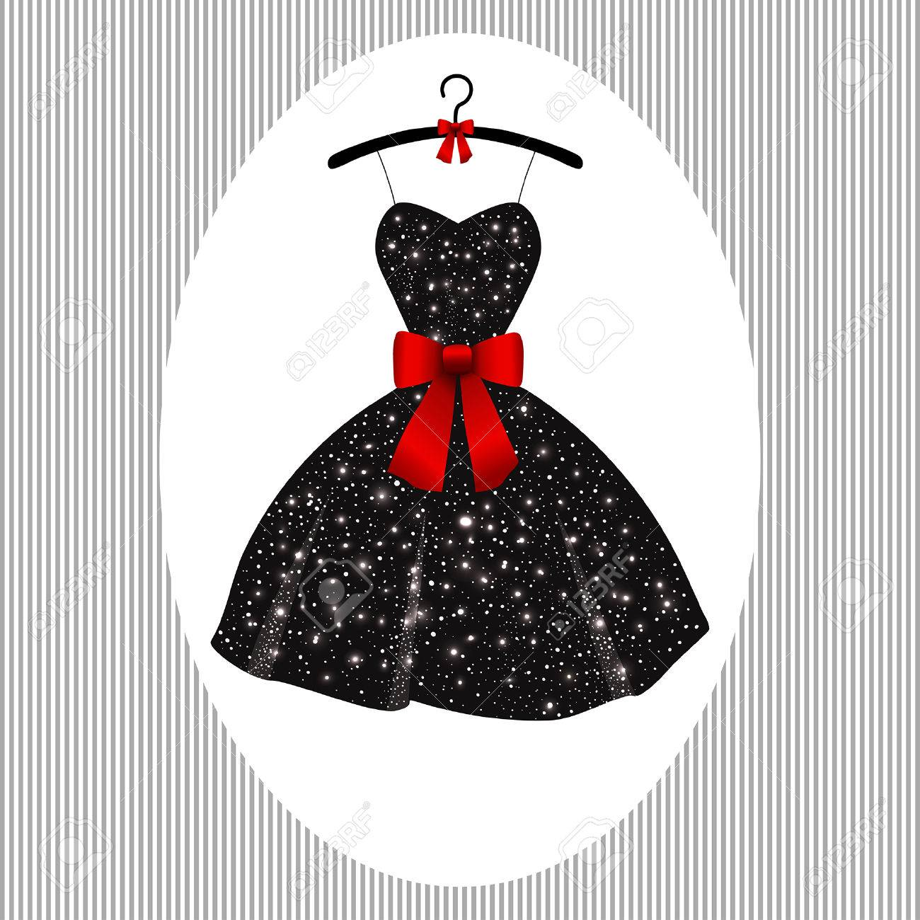 Vestido negro lazo rojo