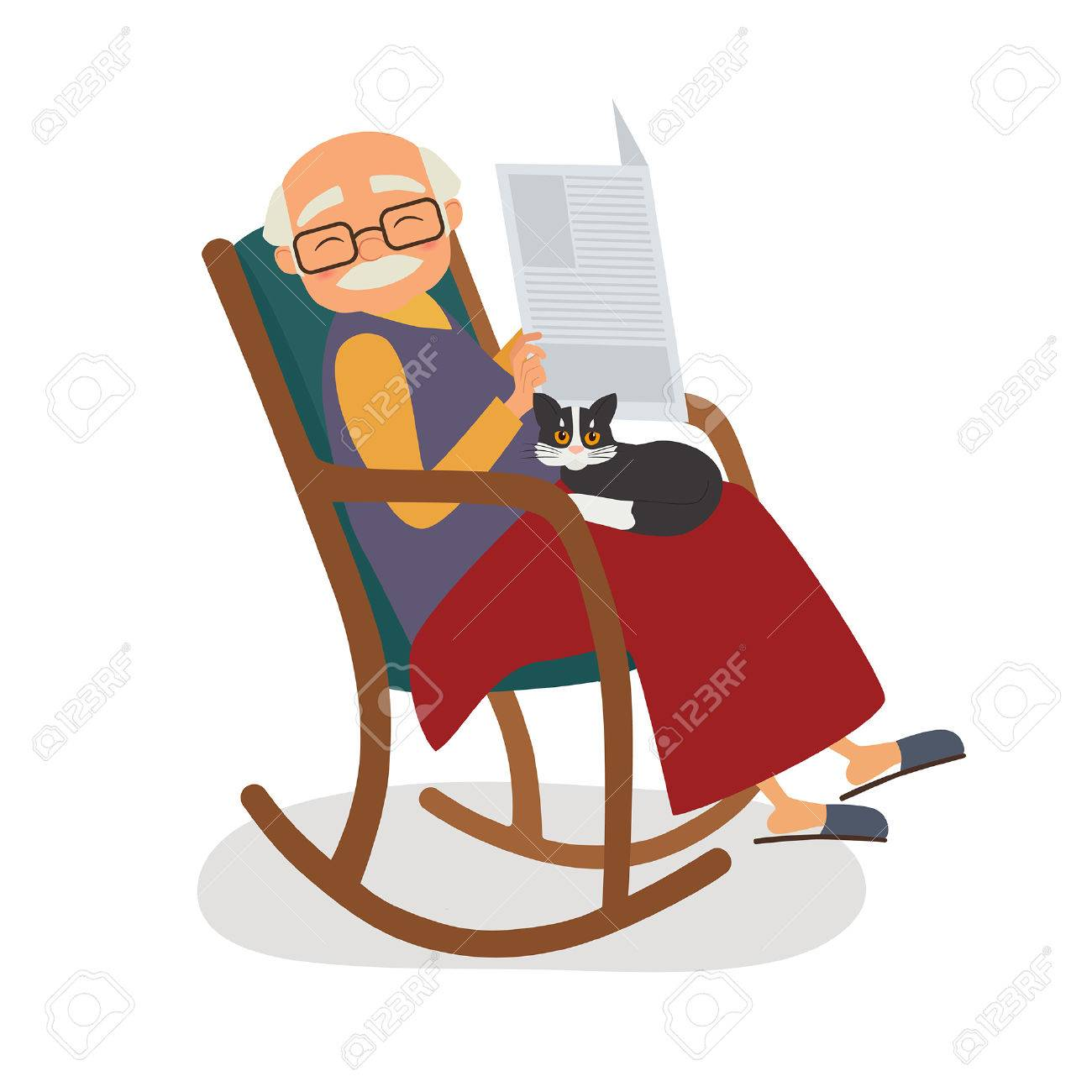 Old Man With Cat And Papernews In Her Rocking Chair Vector