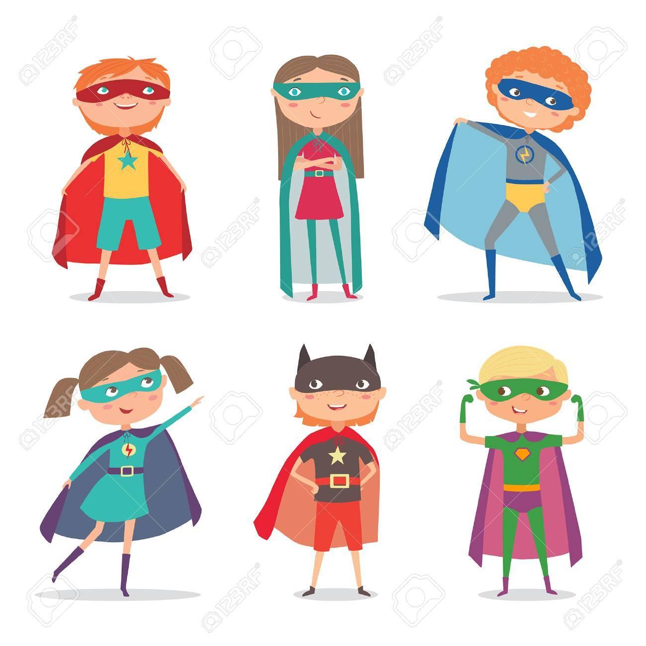 Superhero Kids Boys And Girls. Super Kids Cartoon Illustration ...