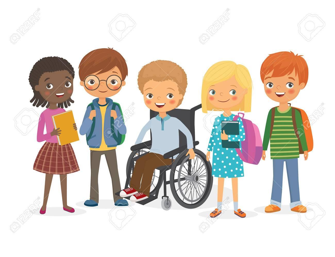 Niños discapacitados en una silla de ruedas con sus amigos. Pupilas niñas y niños. Niños internacionales con mochilas y libros con su amigo, un