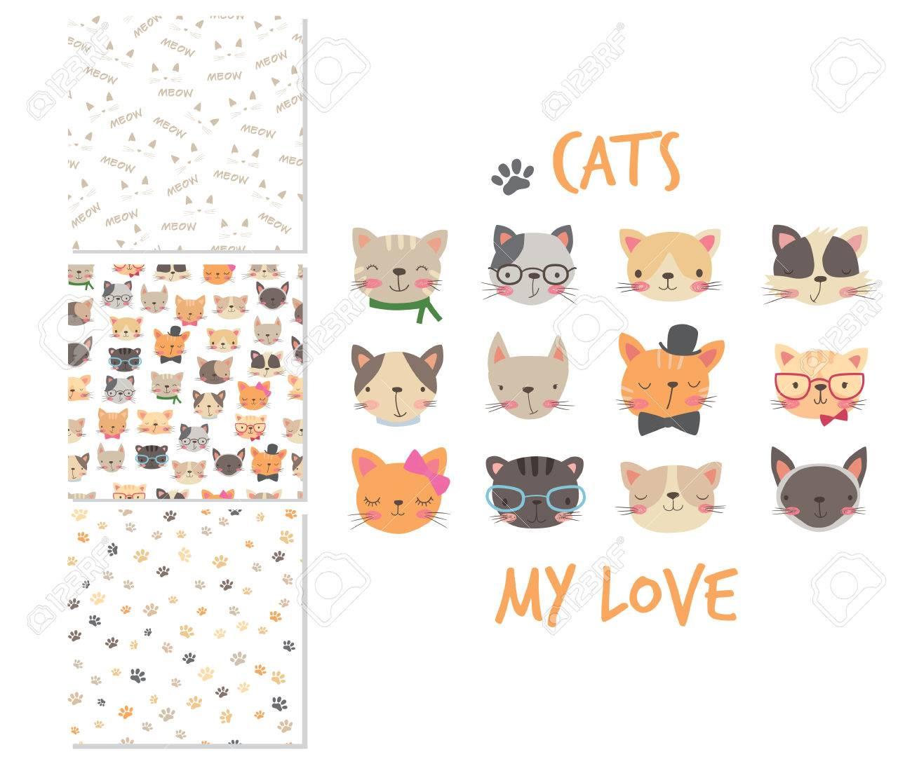 Cabezas De Gatos Diseño De Superficie De Dibujos Animados Y 3 ...