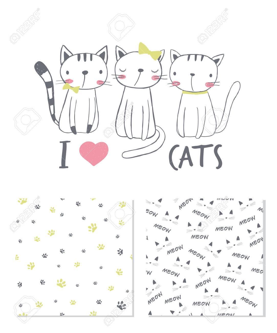 Amo A Los Gatos. Diseño De Superficie Y 2 Patrones Sin Costura ...