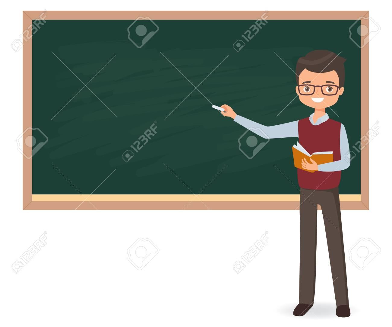 Jeune Enseignant Ecrit Une Craie Sur Un Tableau D Ecole