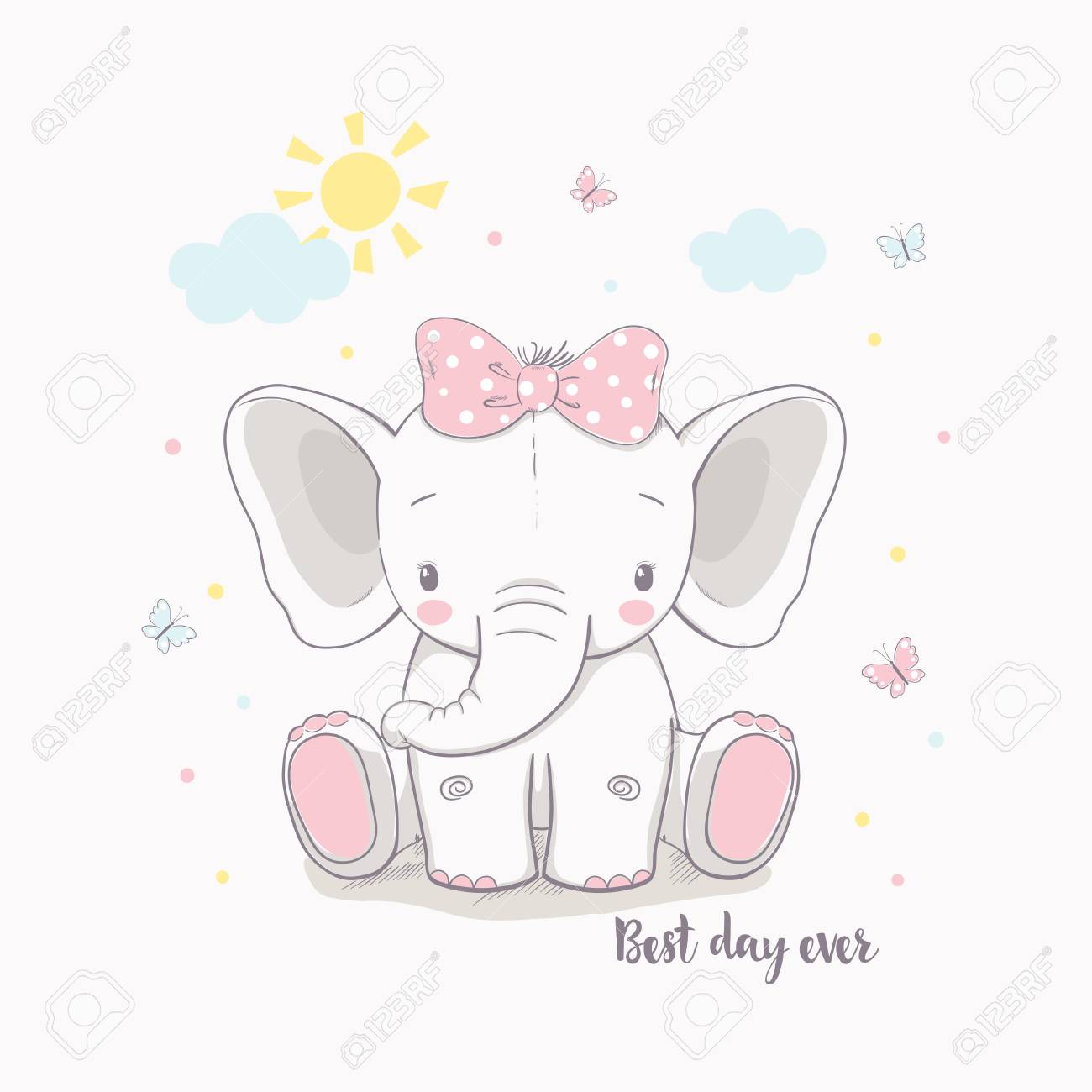 Little elephant girl. Vector illustration for kids. Use for print design, surface design, fashion kids wear, baby shower - 97386640
