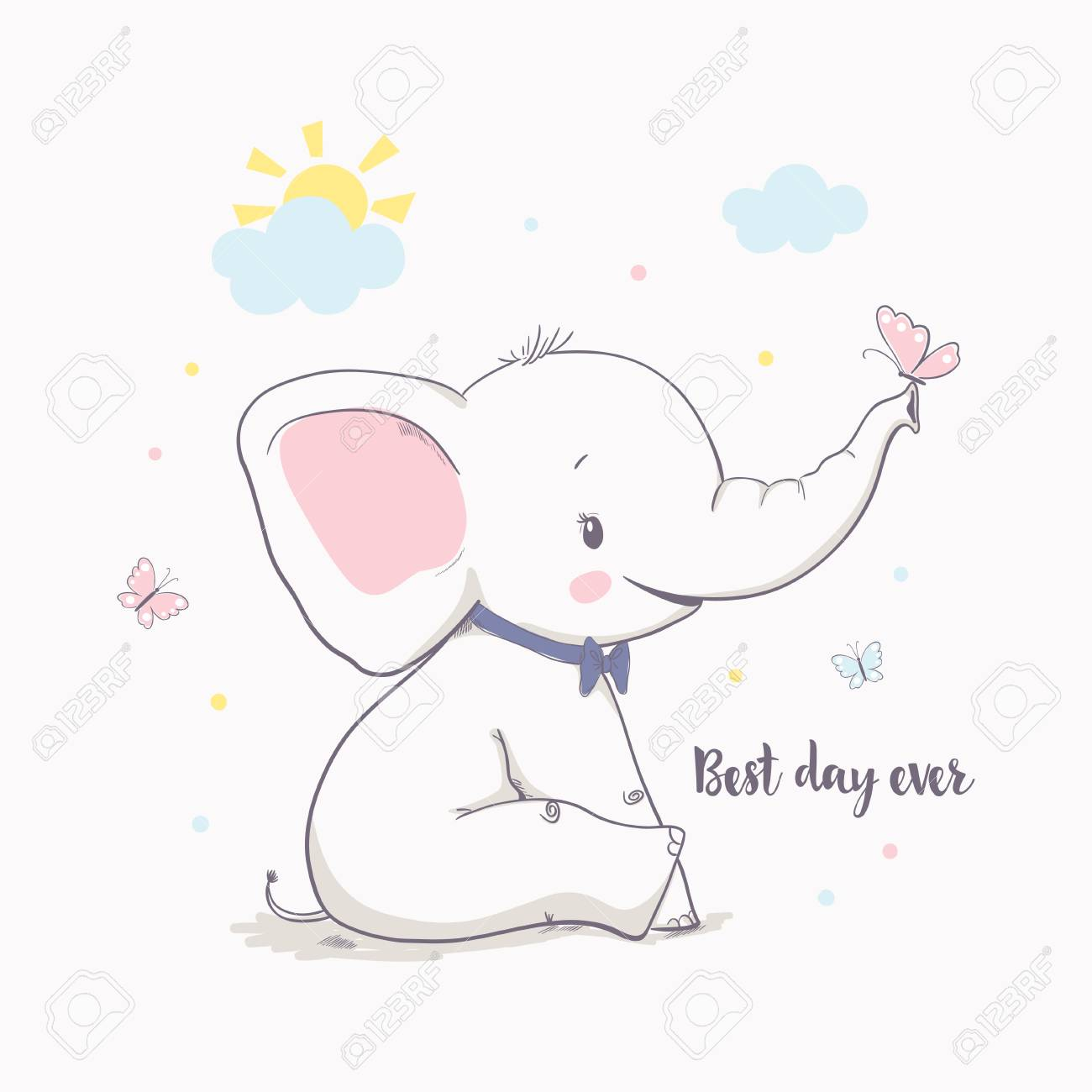 Little elephant with butterfly. Vector illustration for kids. Cartoon vector illustration for kids. Use for print design, surface design, fashion kids wear, baby shower - 97386638