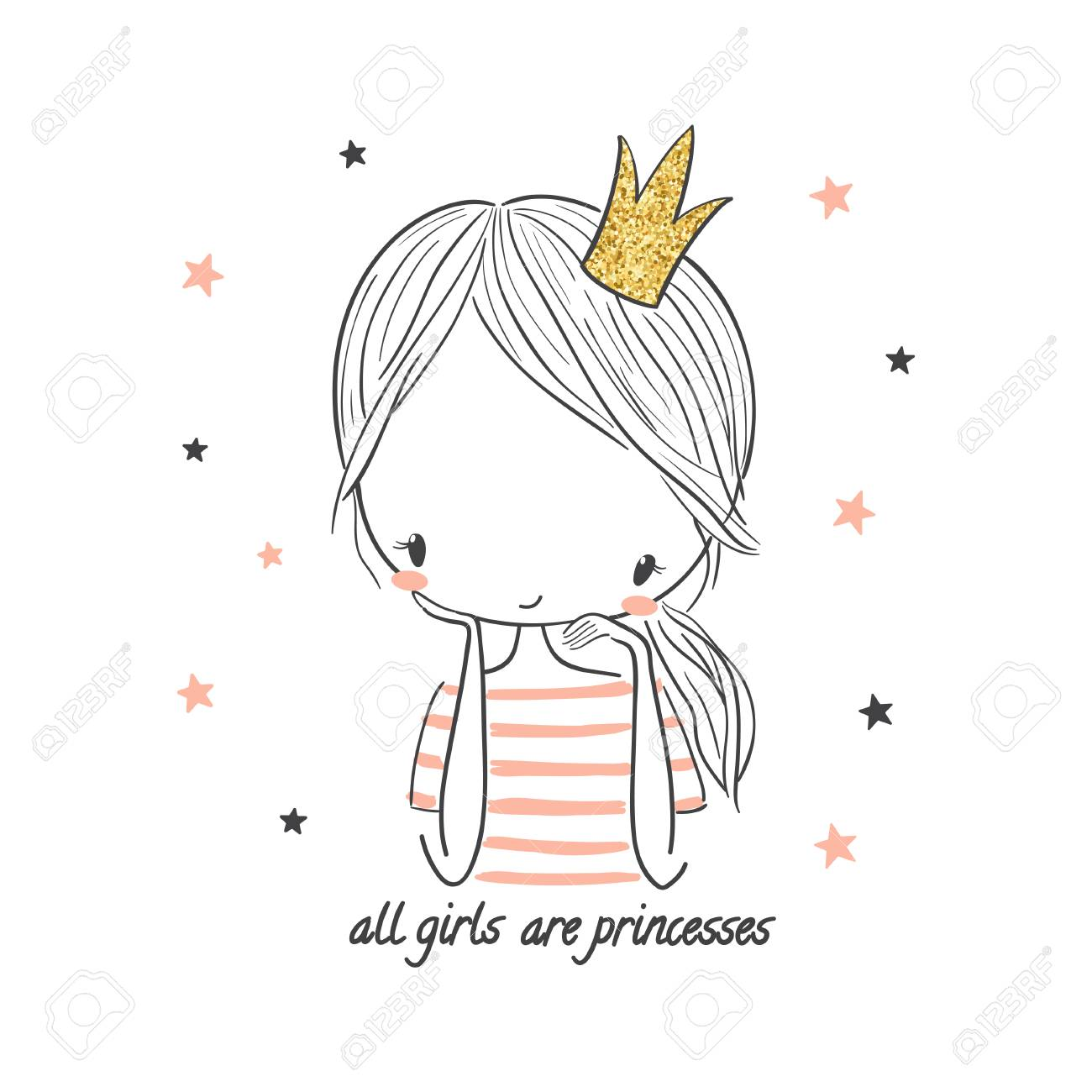Cute Princess Girl Fashion Illustration For Kids Clothing Use Royalty Free Cliparts Vectors And Stock Illustration Image 101897268