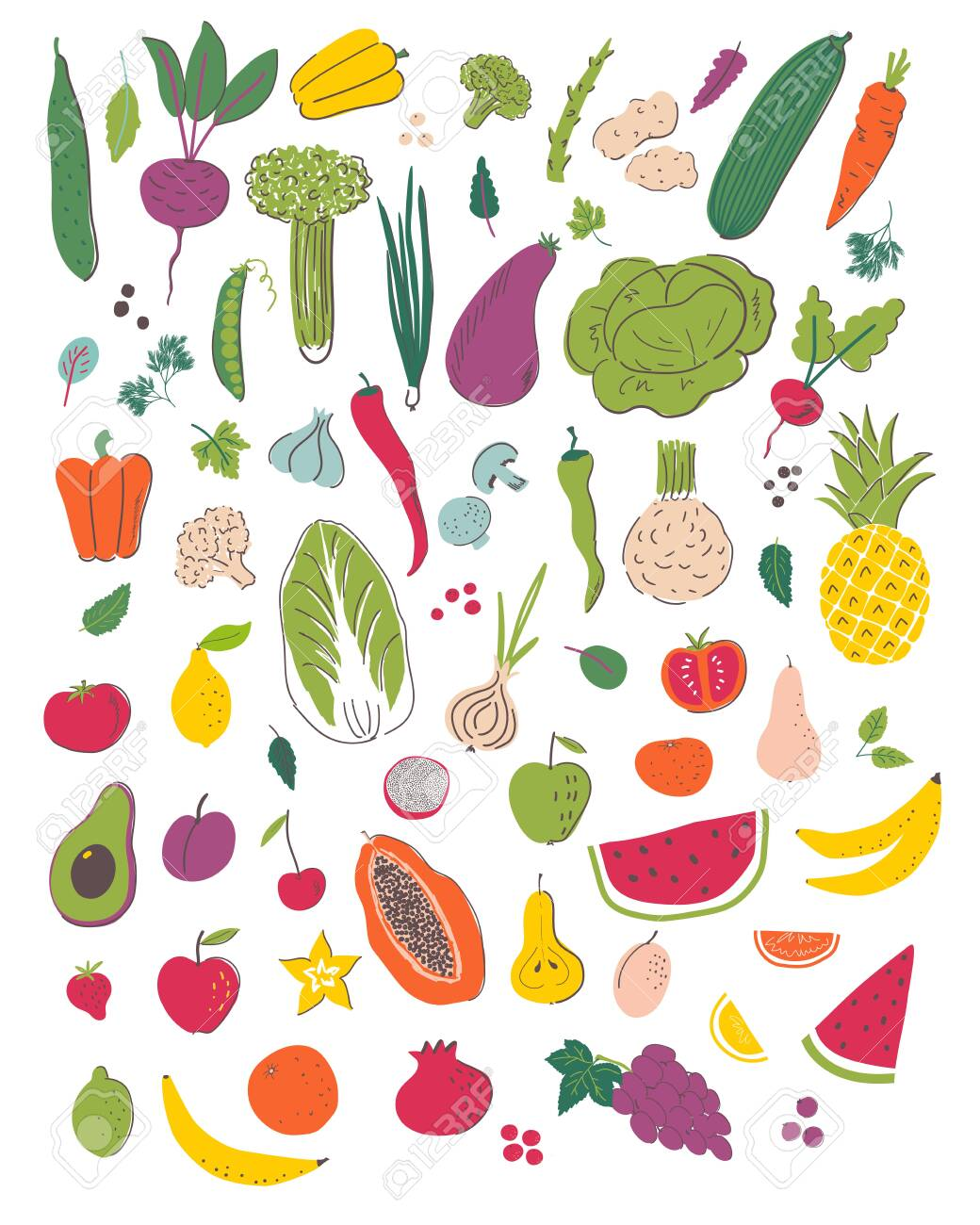 Fruits And Vegetables Hand Draw Illustration Set Organic And Royalty Free Cliparts Vectors And Stock Illustration Image 123021424