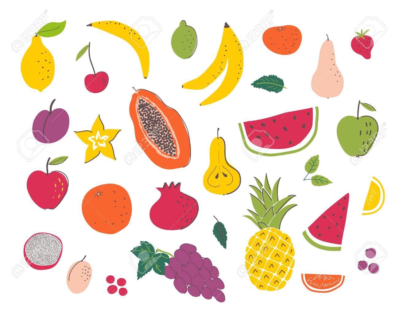 Fruits Hand Draw Illustration Set Organic And Diet Food Healthy