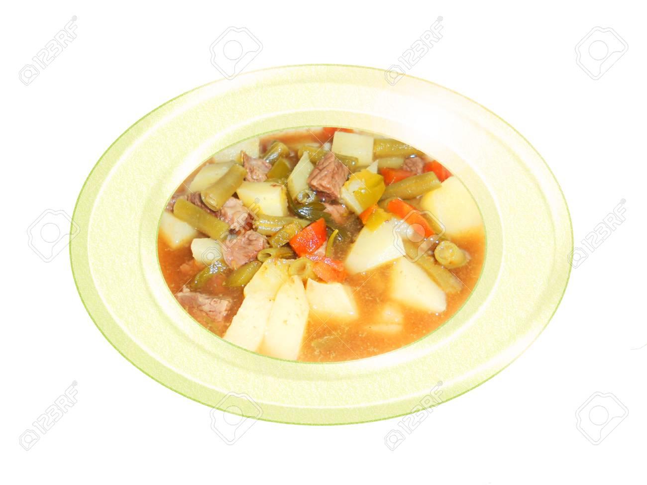Meat with potato stew. Composition. Foto de archivo - 34250557