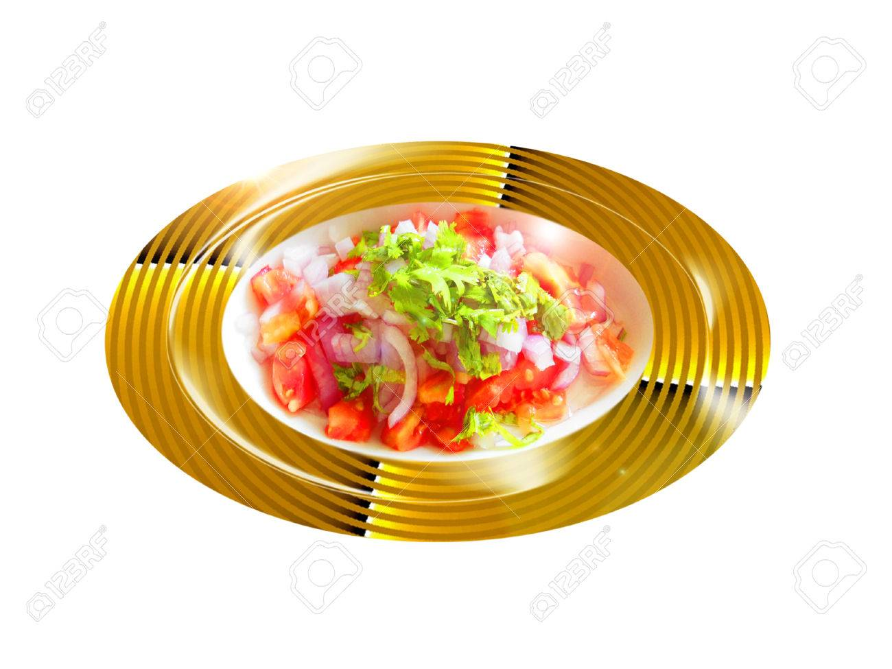 Tomate con ensalada de cilantro Foto de archivo - 35091126