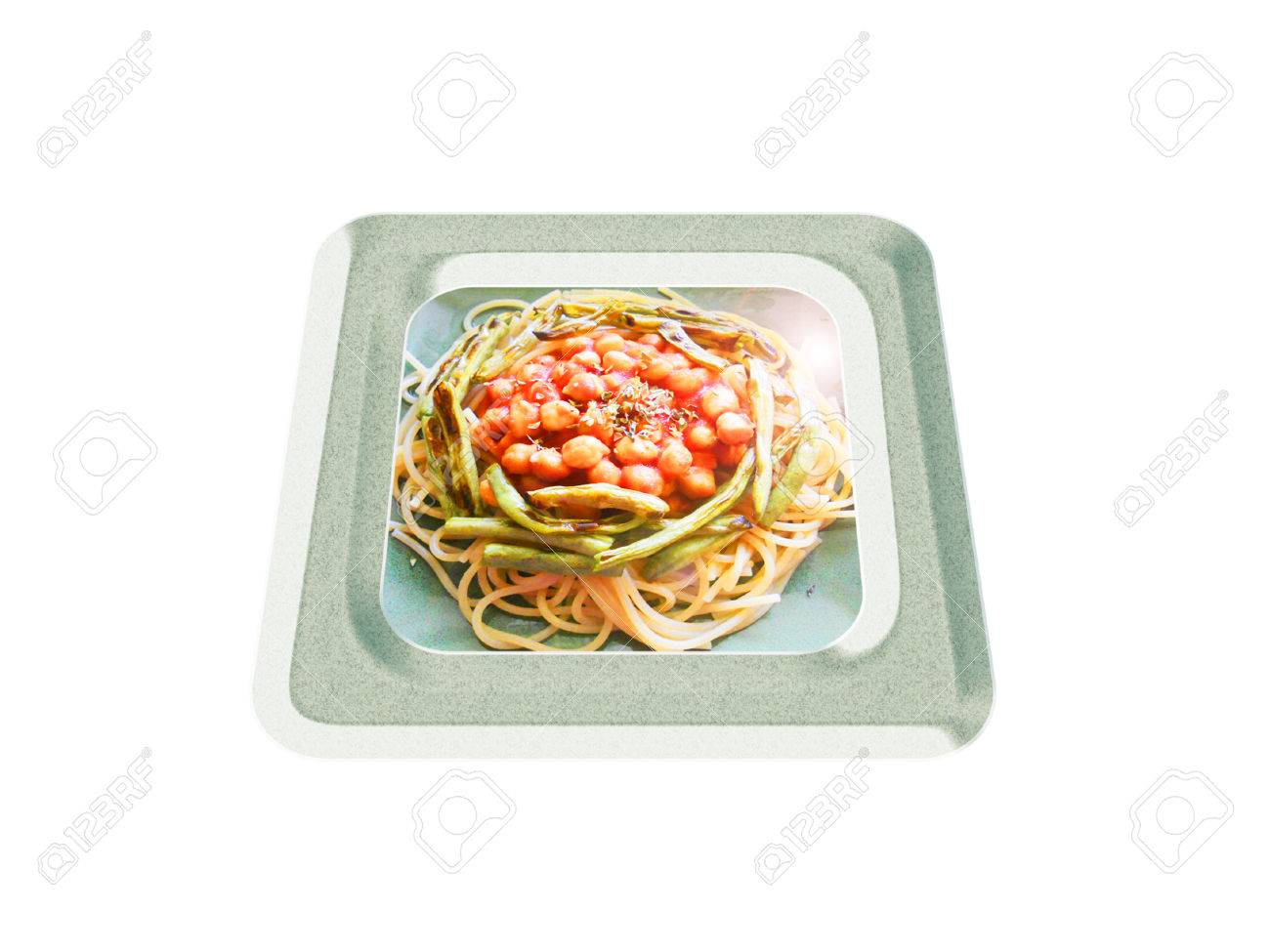 Spaghetti with chickpea and green bean. Composition Foto de archivo - 36007183