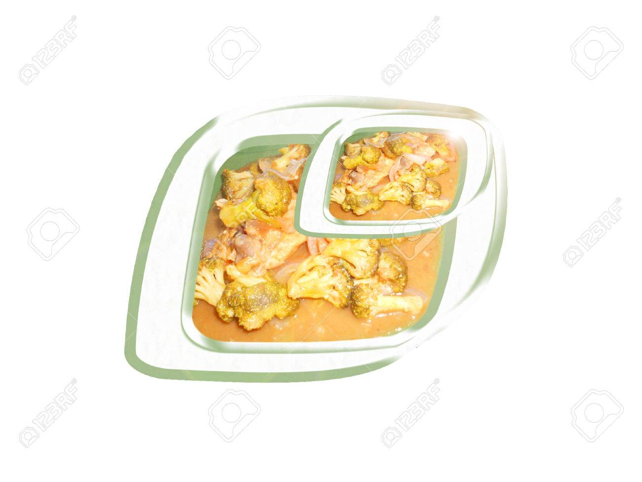 Pollo con salsa de tamarindo y el brócoli. Composición. Foto de archivo - 38922641