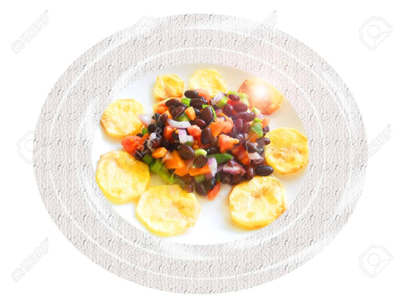 Black bean salad with baked potatoes. Composition Foto de archivo - 39366284