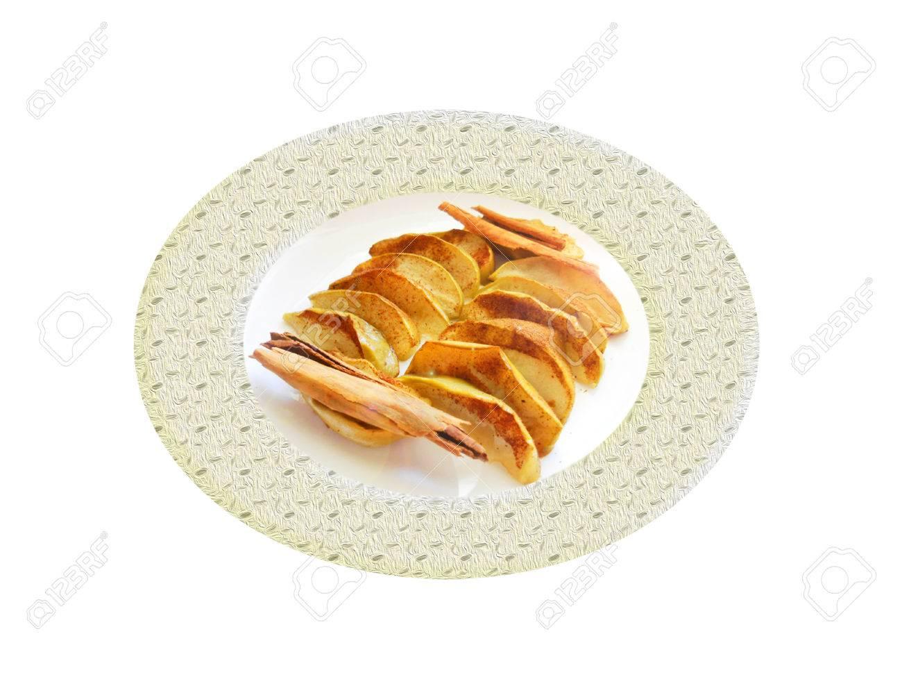 Al horno de manzana verde con cinnamom. Composición Foto de archivo - 39366286