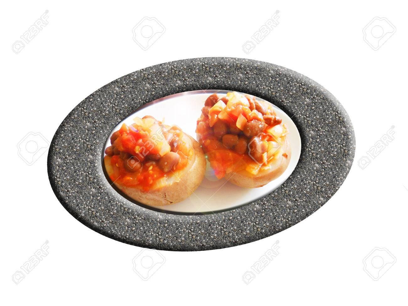Potato filled with beans. Composition. Foto de archivo - 44287421