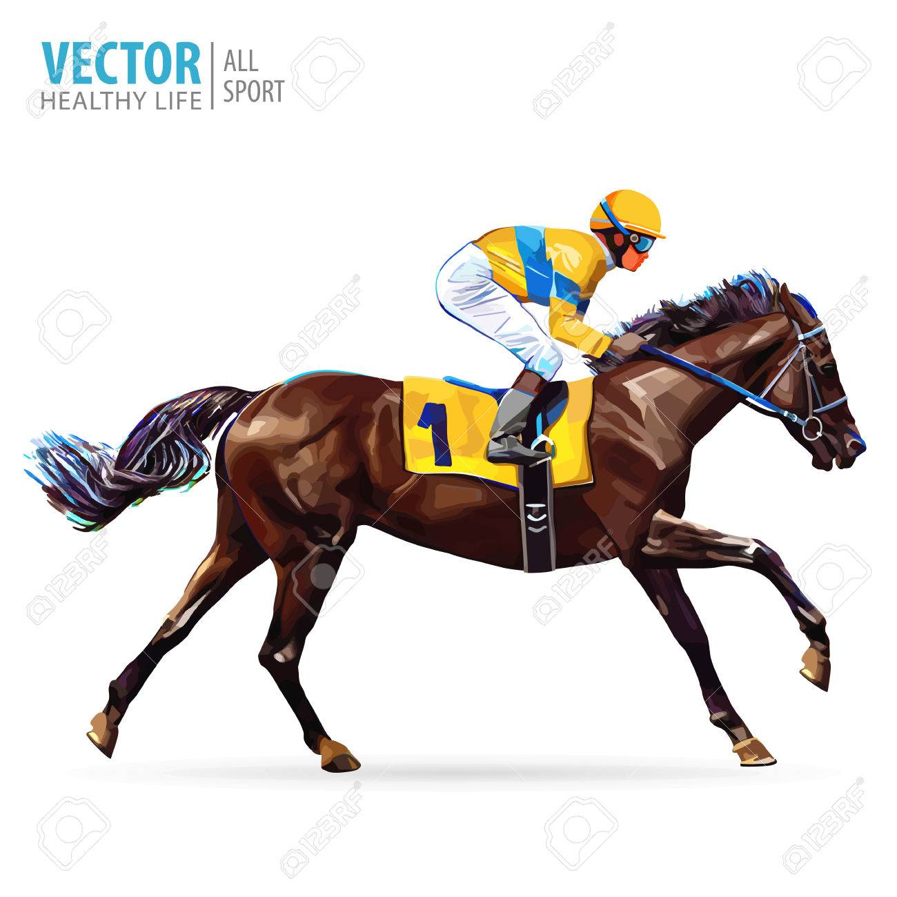 Jockey on horse. Champion. Horse racing. Hippodrome. Racetrack. Jump racetrack. Horse riding. Racing horse coming first to finish line. Vector illustration. - 78668708