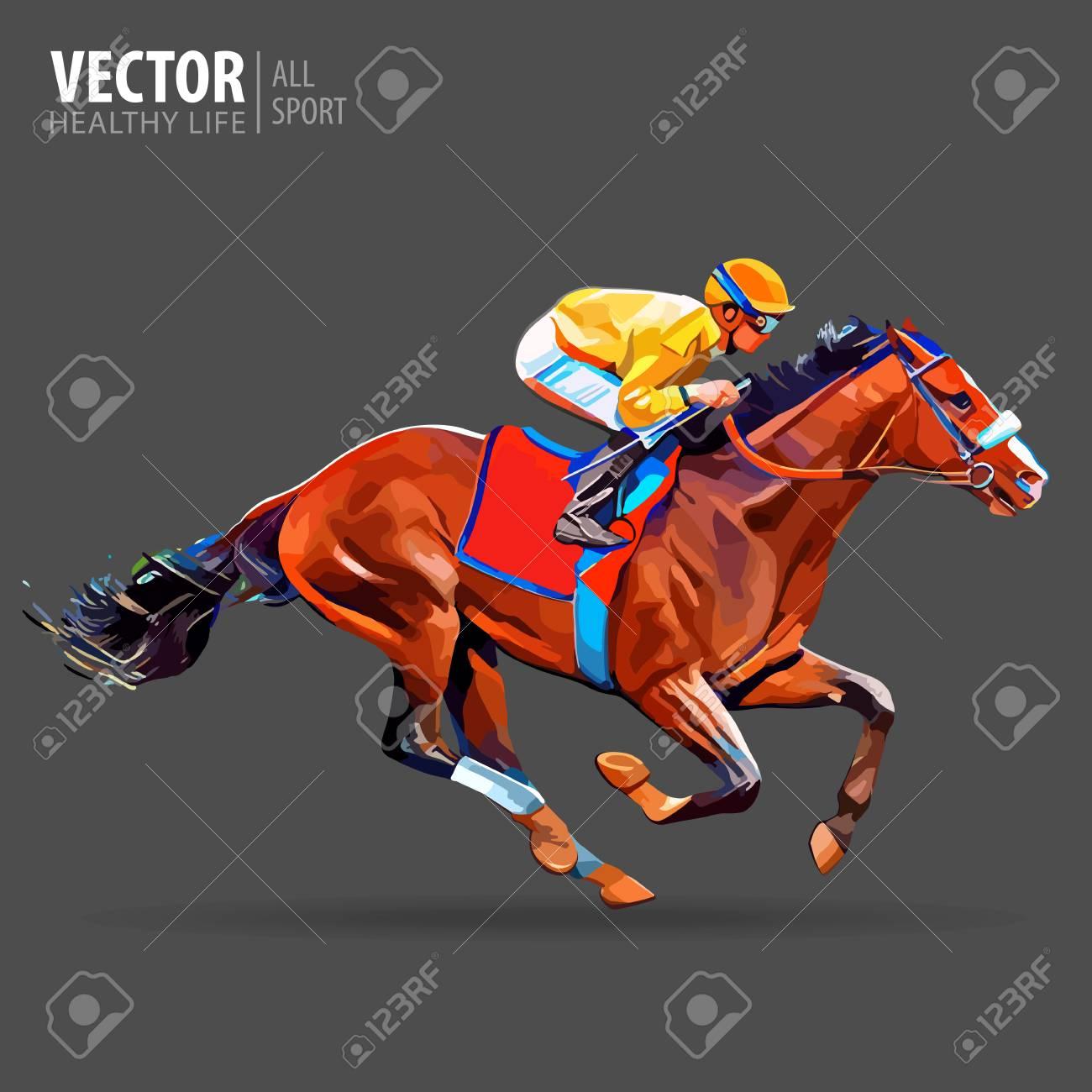 Jockey On Horse Champion Racing Hippodrome Racetrack