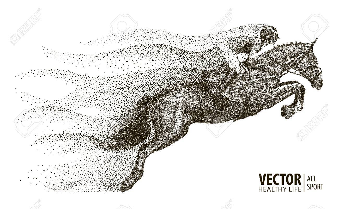 Jockey on horse. Champion. Horse riding. Equestrian sport. Jockey riding jumping horse. Poster. Sport background. Particle divergent composition. Vector Illustration. - 89595659