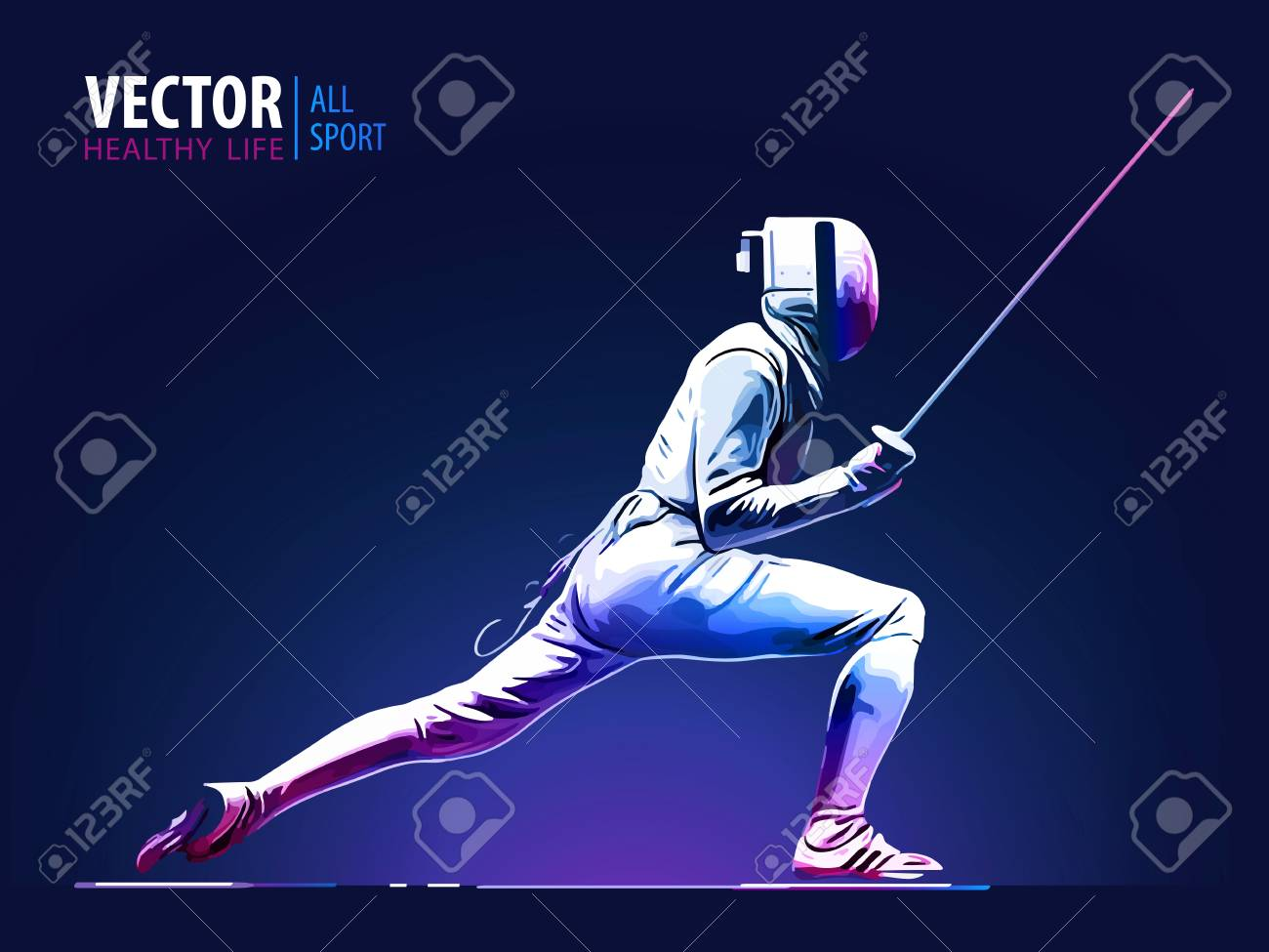 Fencer man wearing fencing suit practicing with sword. Sports arena and lense flare with seon effect vector illustration. - 90215966