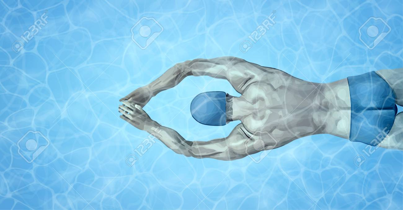 Healthy lifestyle. Fit swimmer training in the swimming pool...