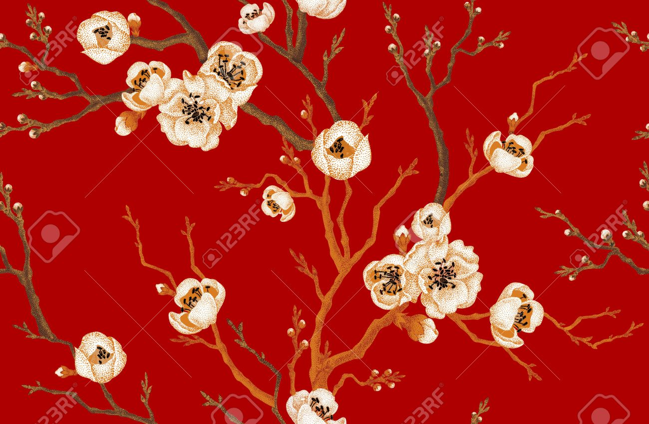 Sakura branch on red background. Vector seamless pattern. Floral design oriental style. Vintage. Black white red. Beautiful flowers of Oriental cherry tree gold foil printing. - 55000903