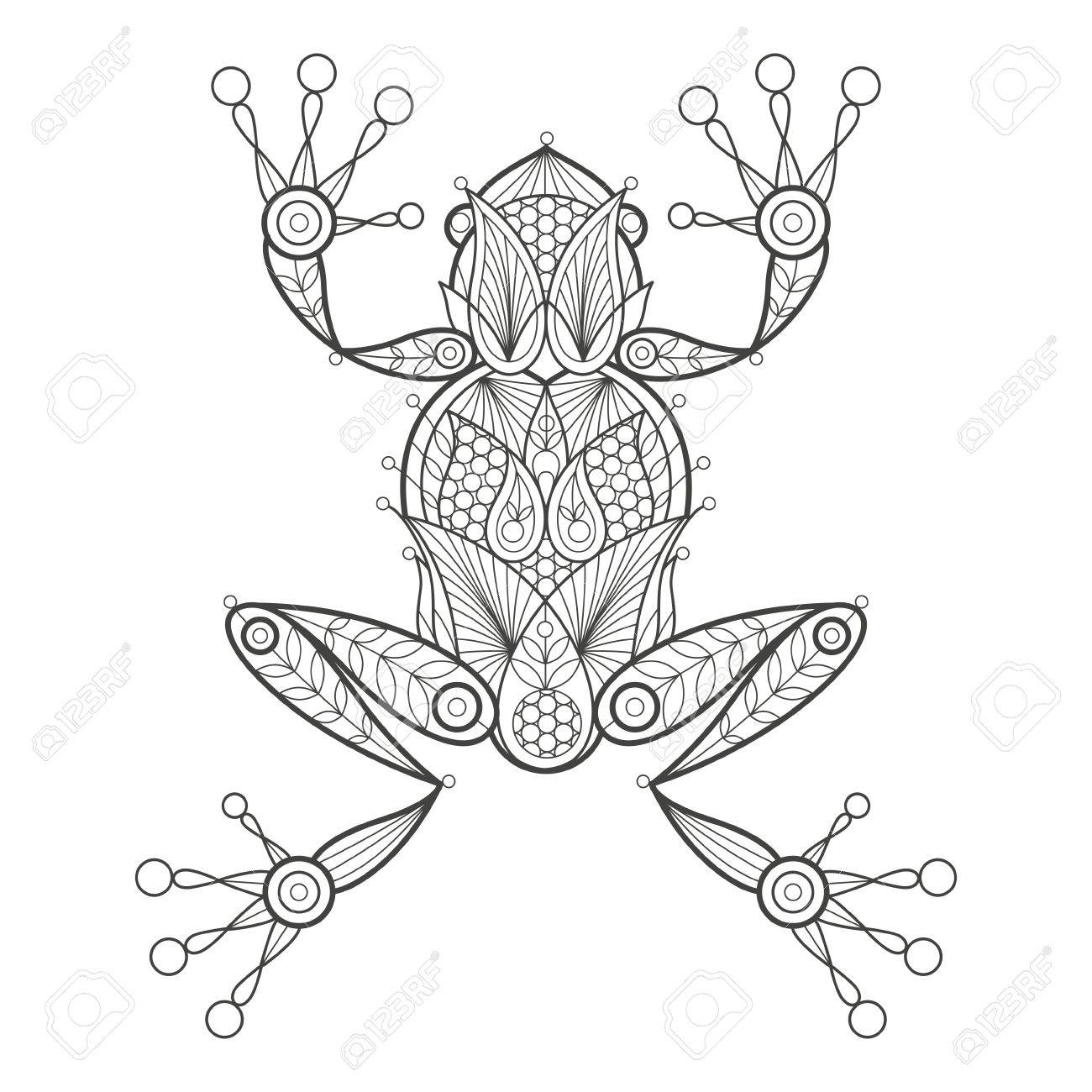 Vector illustration decorative frog on white background. Fashion trend of adult coloration. Amphibian frog vector with elements oriental motif Turkish cucumber. Black and white. Modern vector design. - 55005983