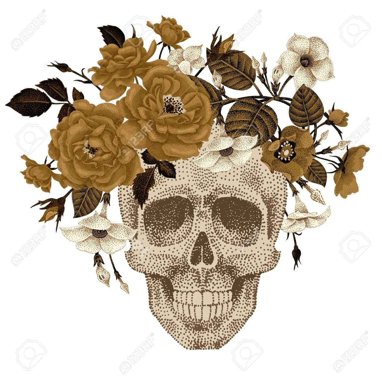 Dead Head With A Wreath Of Ivy Flowers Roses Isolated On White Background Vector