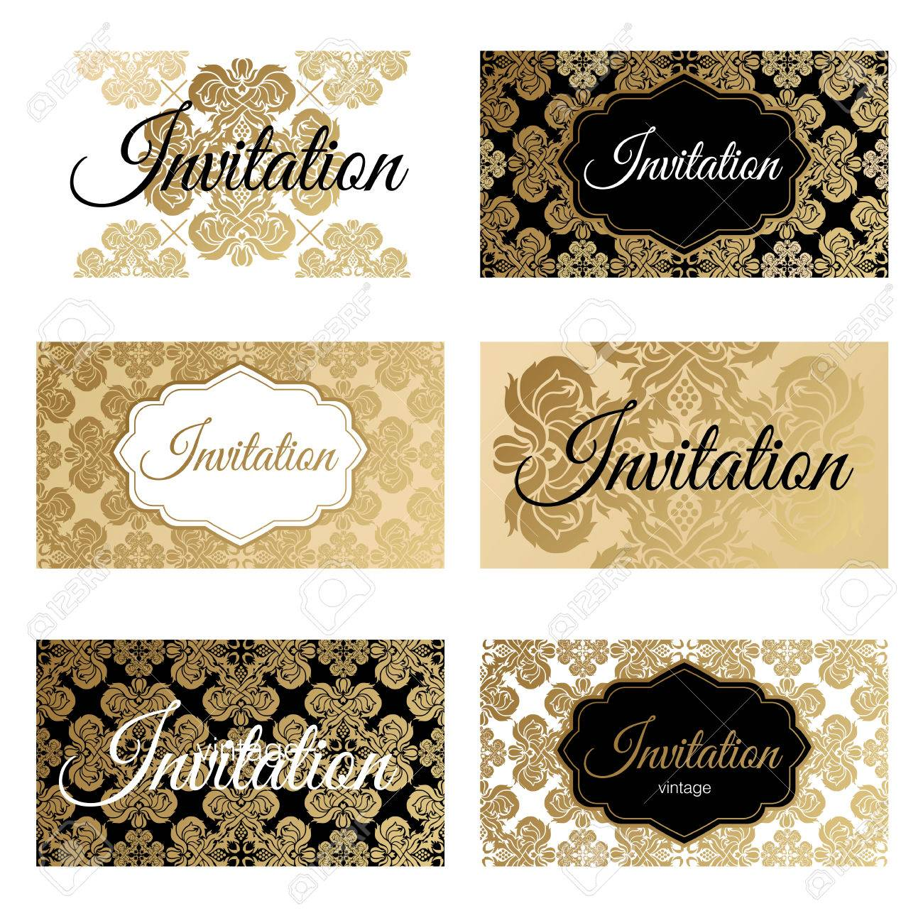 set invitations templates business cards the concept of a gold
