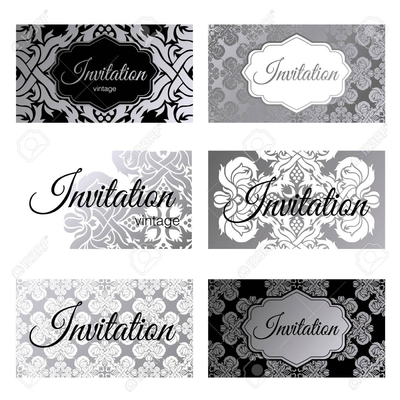 Set Invitations Templates, Business Cards. The Concept Of Silver ...